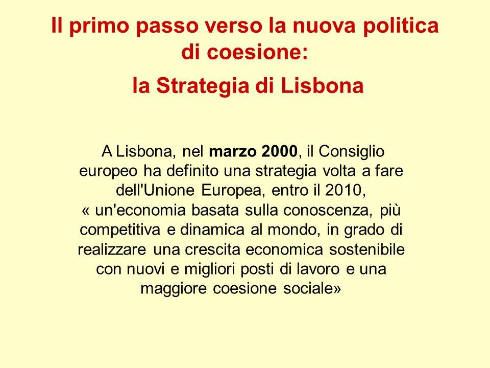 Il primo passo verso la nuova politica di coesione: la Strategia di Lisbona A Lisbona, nel marzo 2000, il Consiglio europeo ha definito una strategia