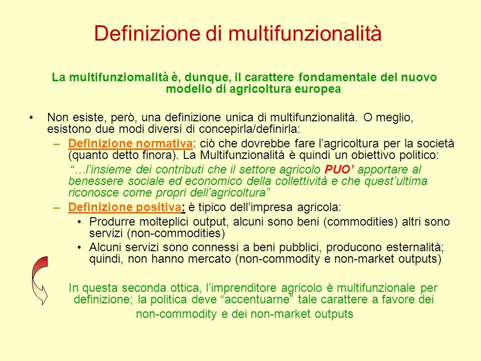 Definizione di multifunzionalità La multifunziomalità è, dunque, il carattere fondamentale del nuovo modello di agricoltura europea Non esiste, però,