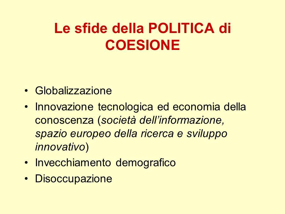 Globalizzazione Innovazione tecnologica ed economia della conoscenza (società dellinformazione, spazio europeo della ricerca e sviluppo innovativo) In