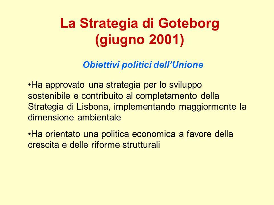 La Strategia di Goteborg (giugno 2001) Obiettivi politici dellUnione Ha approvato una strategia per lo sviluppo sostenibile e contribuito al completam