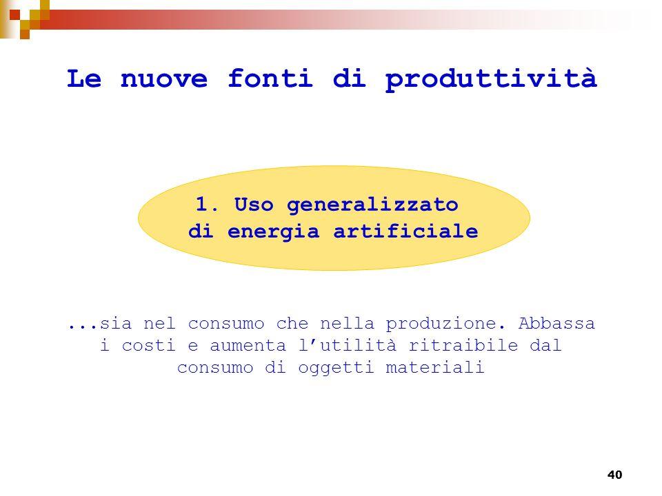 41 Le nuove fonti di produttività...ossia dellutilità ottenuta da prestazioni cognitive che vengono fornite direttamente allutilizzatore senza la mediazione di un oggetto materiale.