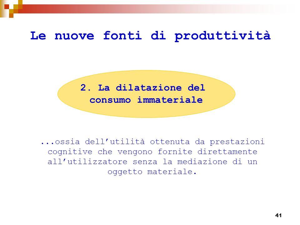 42 Le nuove fonti di produttività ossia quel modo di produrre valore che passa non per la prestazione materiale ma per il significato che questo acquista nel corso di unesperienza di produzione o di consumo.
