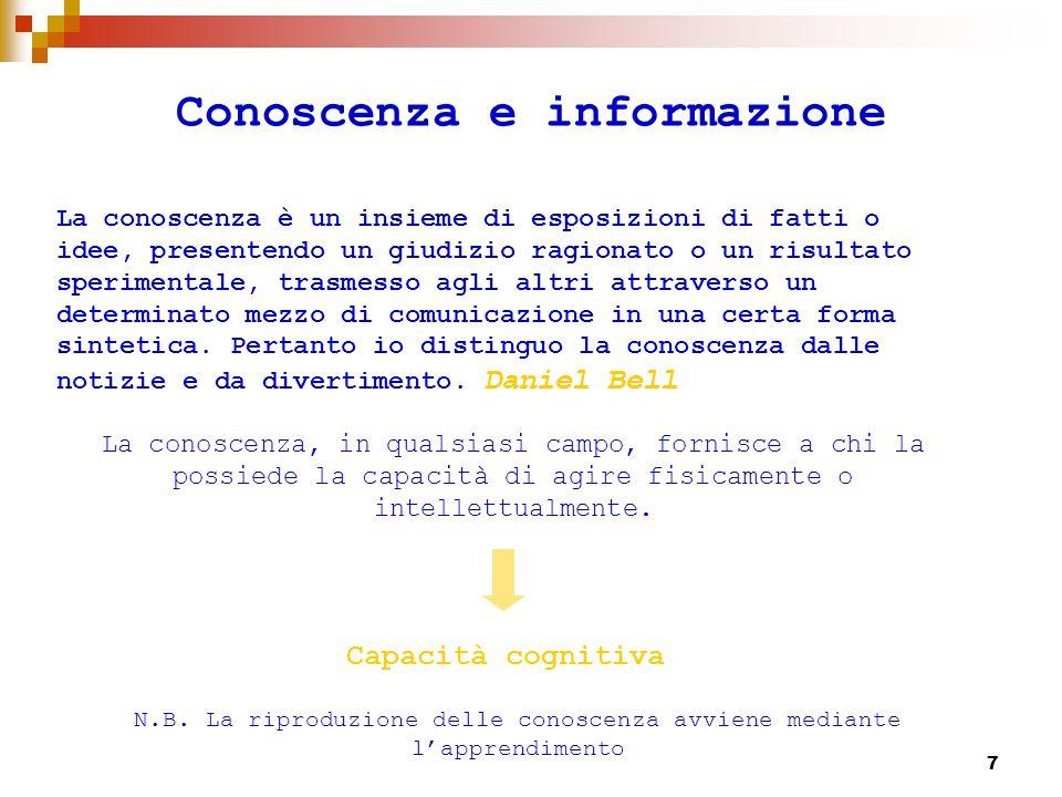 8 Conoscenza e informazione Linformazione prende la forma di dati strutturati che rimangono passivi ed inerti fin quando non vengono usati da qualcuno che possiede la conoscenza necessaria per interpretarli ed elaborarli N.B.