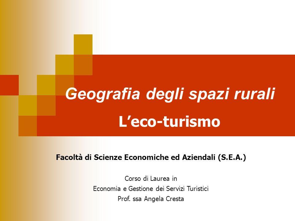 Geografia degli spazi rurali Facoltà di Scienze Economiche ed Aziendali (S.E.A.) Corso di Laurea in Economia e Gestione dei Servizi Turistici Prof. ss