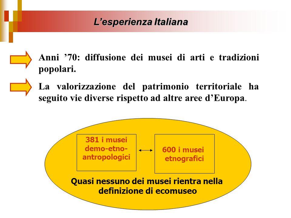 Lesperienza Italiana Anni 70: diffusione dei musei di arti e tradizioni popolari. La valorizzazione del patrimonio territoriale ha seguito vie diverse