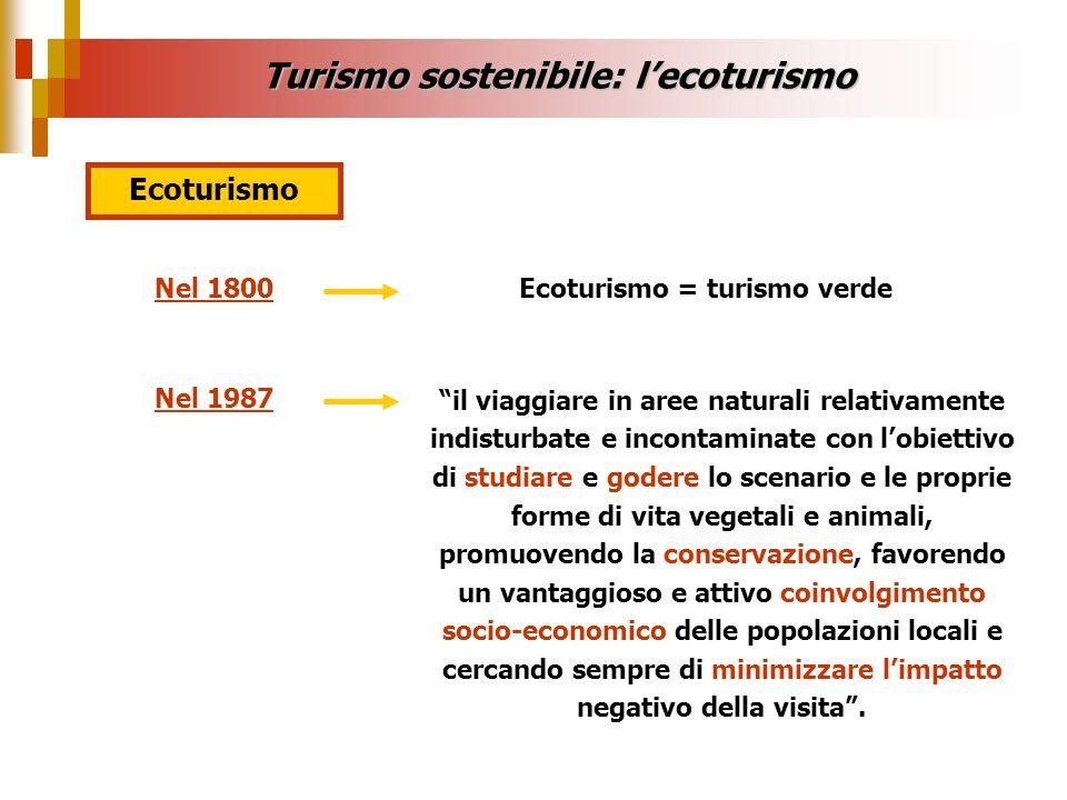 Turismo sostenibile: lecoturismo Ecoturismo Nel 1800Ecoturismo = turismo verde Nel 1987 il viaggiare in aree naturali relativamente indisturbate e inc