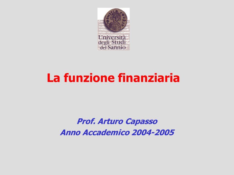La funzione finanziaria Prof. Arturo Capasso Anno Accademico 2004-2005