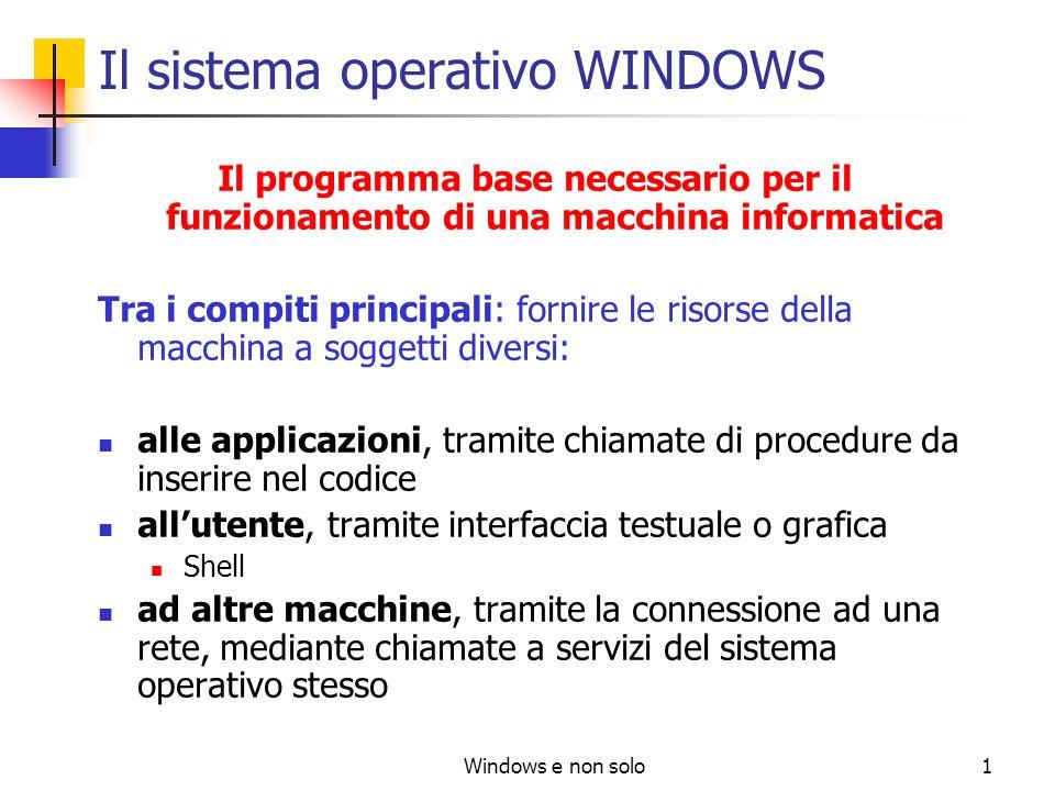 Windows e non solo1 Il sistema operativo WINDOWS Il programma base necessario per il funzionamento di una macchina informatica Tra i compiti principal