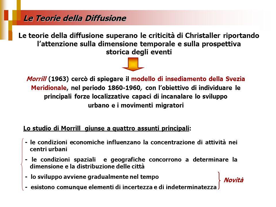 Le Teorie della Diffusione Lo studio di Morrill giunse a quattro assunti principali: - le condizioni economiche influenzano la concentrazione di attiv