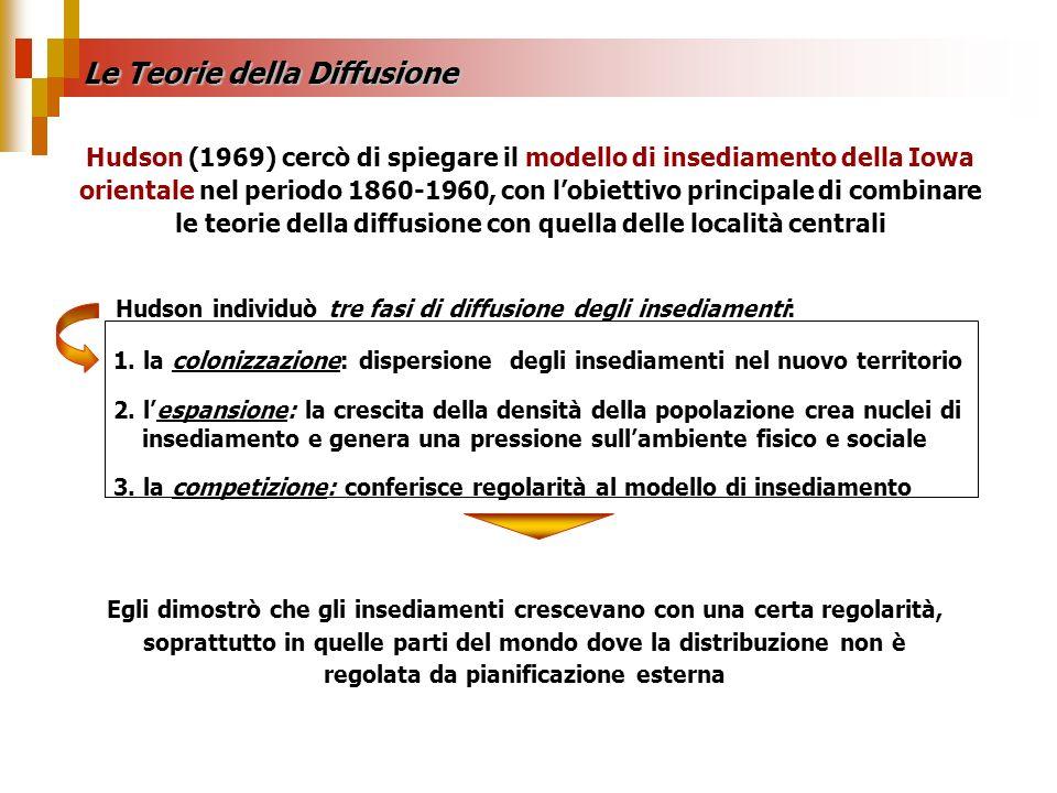 Le Teorie della Diffusione 1. la colonizzazione: dispersione degli insediamenti nel nuovo territorio 2. lespansione: la crescita della densità della p