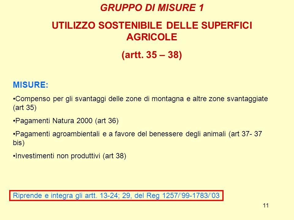 11 GRUPPO DI MISURE 1 UTILIZZO SOSTENIBILE DELLE SUPERFICI AGRICOLE (artt. 35 – 38) MISURE: Compenso per gli svantaggi delle zone di montagna e altre