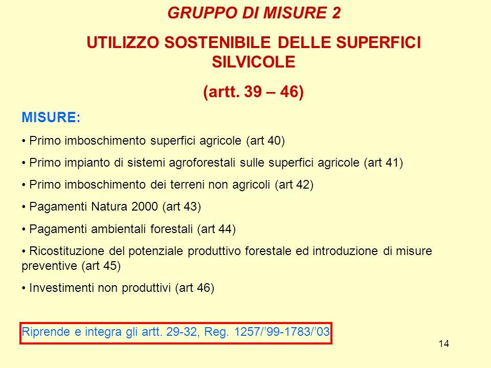 14 GRUPPO DI MISURE 2 UTILIZZO SOSTENIBILE DELLE SUPERFICI SILVICOLE (artt. 39 – 46) MISURE: Primo imboschimento superfici agricole (art 40) Primo imp