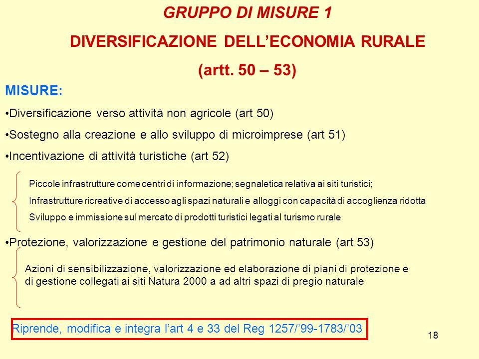 18 GRUPPO DI MISURE 1 DIVERSIFICAZIONE DELLECONOMIA RURALE (artt. 50 – 53) MISURE: Diversificazione verso attività non agricole (art 50) Sostegno alla