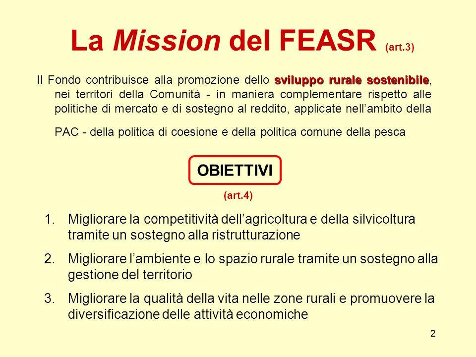 2 La Mission del FEASR (art.3) sviluppo rurale sostenibile Il Fondo contribuisce alla promozione dello sviluppo rurale sostenibile, nei territori della Comunità - in maniera complementare rispetto alle politiche di mercato e di sostegno al reddito, applicate nellambito della PAC - della politica di coesione e della politica comune della pesca OBIETTIVI 1.Migliorare la competitività dellagricoltura e della silvicoltura tramite un sostegno alla ristrutturazione 2.Migliorare lambiente e lo spazio rurale tramite un sostegno alla gestione del territorio 3.Migliorare la qualità della vita nelle zone rurali e promuovere la diversificazione delle attività economiche (art.4)