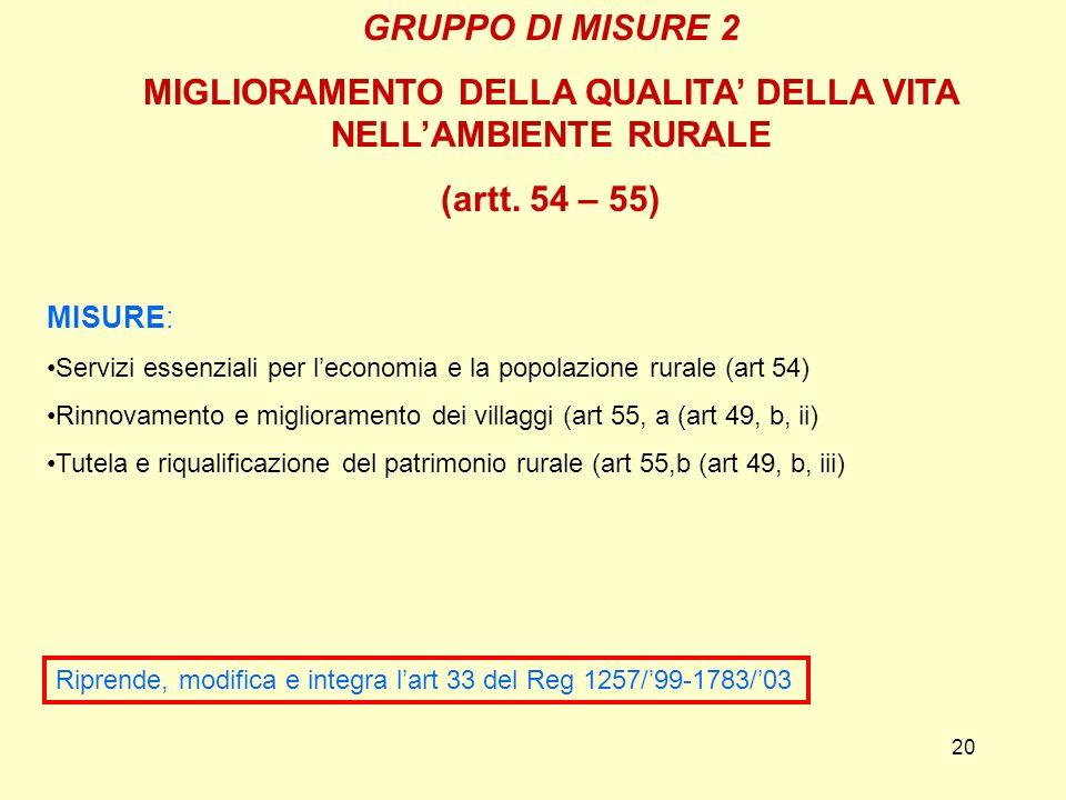 20 GRUPPO DI MISURE 2 MIGLIORAMENTO DELLA QUALITA DELLA VITA NELLAMBIENTE RURALE (artt.