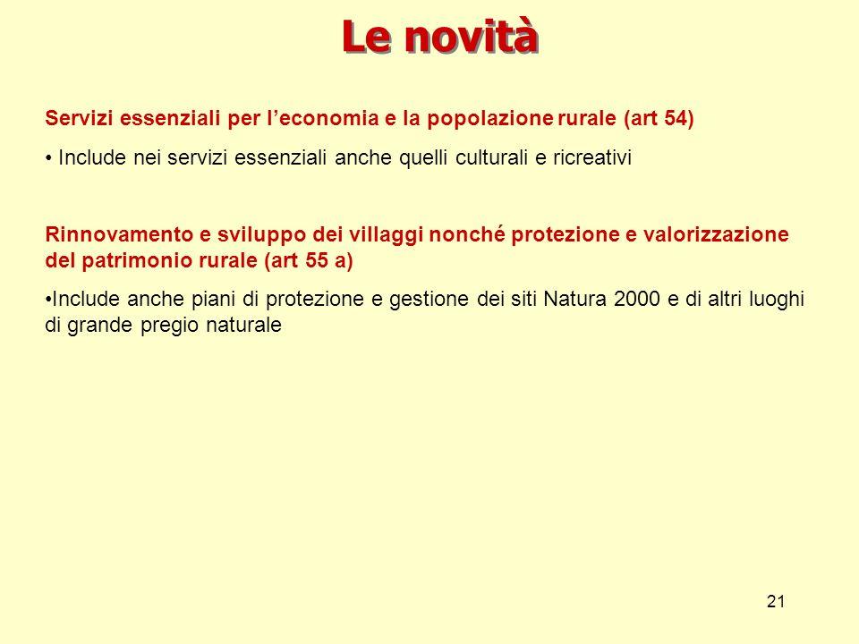 21 Le novità Servizi essenziali per leconomia e la popolazione rurale (art 54) Include nei servizi essenziali anche quelli culturali e ricreativi Rinn