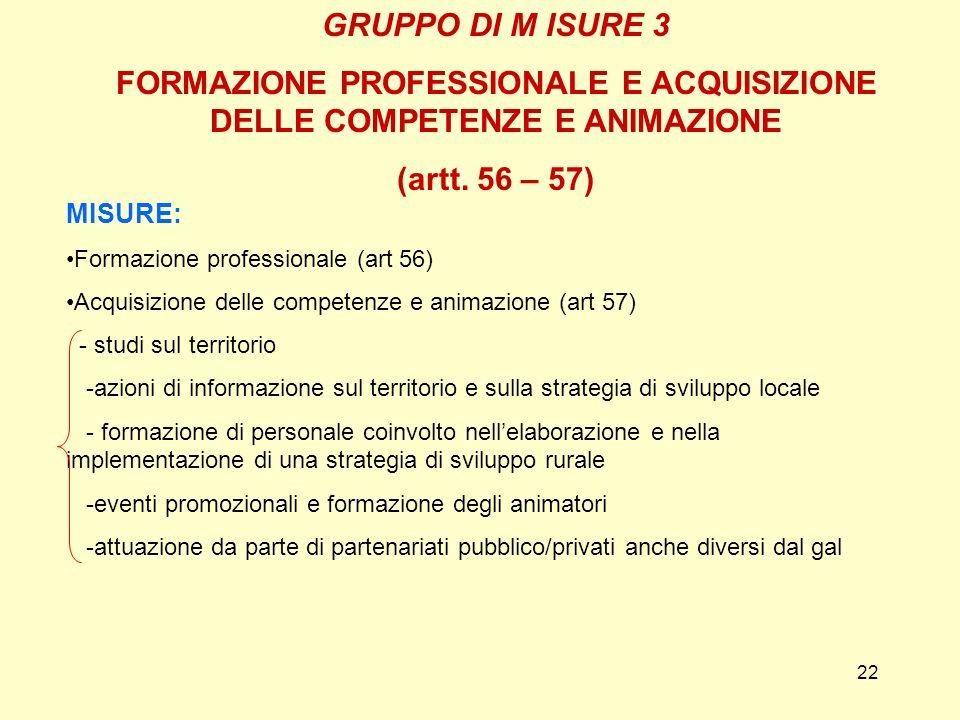 22 GRUPPO DI M ISURE 3 FORMAZIONE PROFESSIONALE E ACQUISIZIONE DELLE COMPETENZE E ANIMAZIONE (artt. 56 – 57) MISURE: Formazione professionale (art 56)