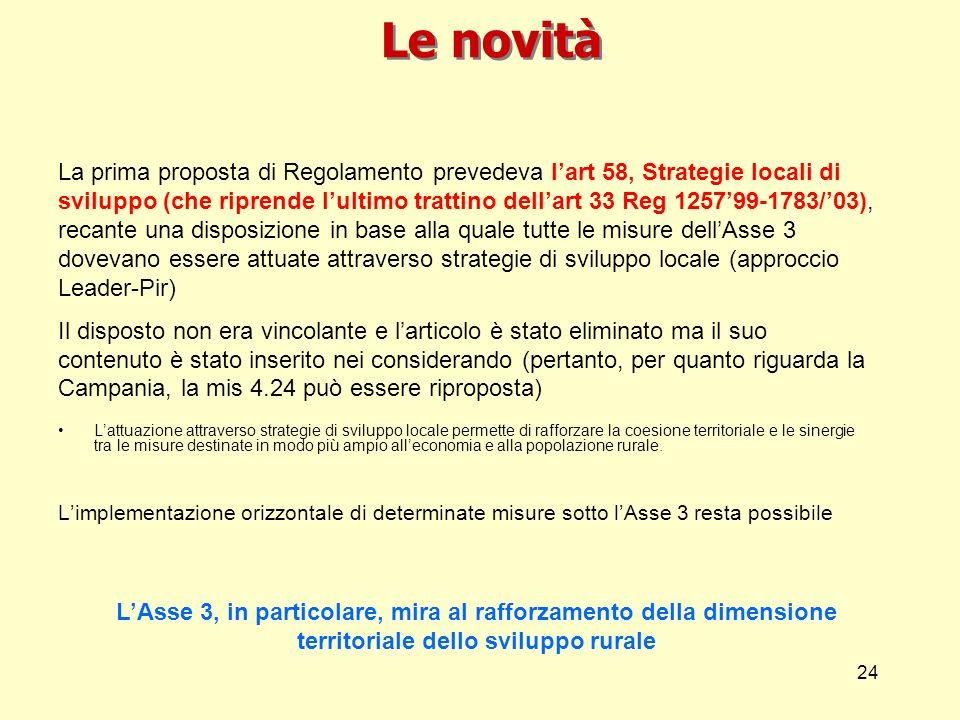 24 Le novità La prima proposta di Regolamento prevedeva lart 58, Strategie locali di sviluppo (che riprende lultimo trattino dellart 33 Reg 125799-178