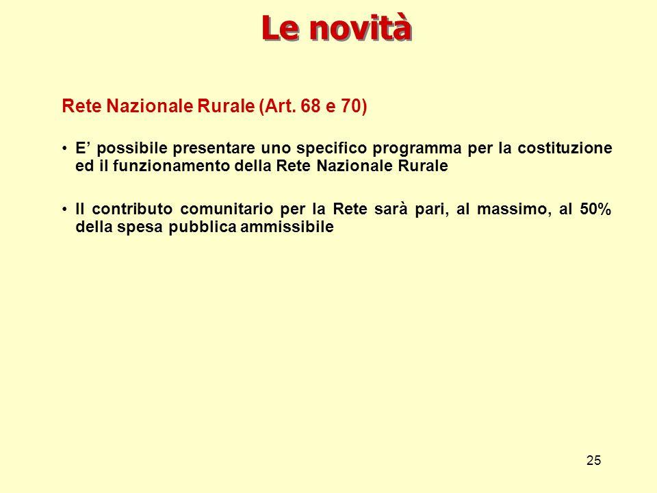 25 Le novità Rete Nazionale Rurale (Art. 68 e 70) E possibile presentare uno specifico programma per la costituzione ed il funzionamento della Rete Na