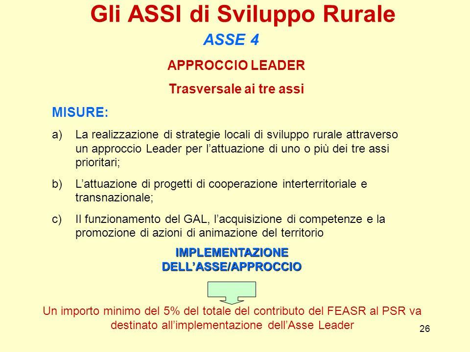 26 APPROCCIO LEADER Trasversale ai tre assi MISURE: a)La realizzazione di strategie locali di sviluppo rurale attraverso un approccio Leader per lattu