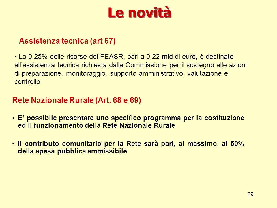 29 Le novità Rete Nazionale Rurale (Art. 68 e 69) E possibile presentare uno specifico programma per la costituzione ed il funzionamento della Rete Na