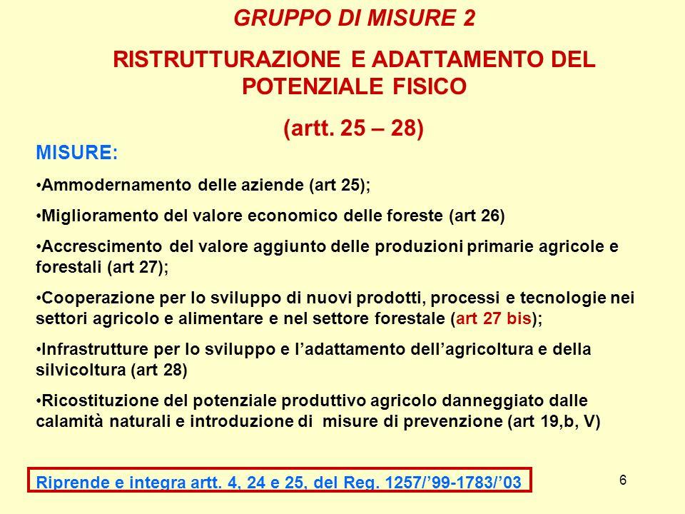 6 GRUPPO DI MISURE 2 RISTRUTTURAZIONE E ADATTAMENTO DEL POTENZIALE FISICO (artt. 25 – 28) MISURE: Ammodernamento delle aziende (art 25); Miglioramento