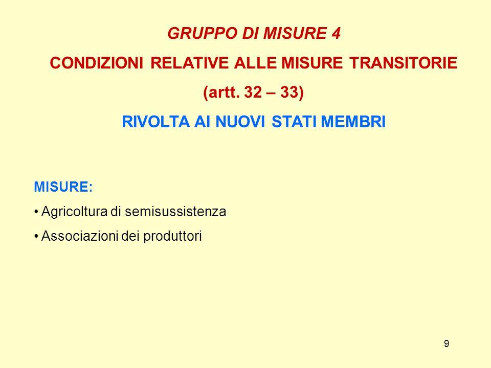 9 GRUPPO DI MISURE 4 CONDIZIONI RELATIVE ALLE MISURE TRANSITORIE (artt. 32 – 33) RIVOLTA AI NUOVI STATI MEMBRI MISURE: Agricoltura di semisussistenza