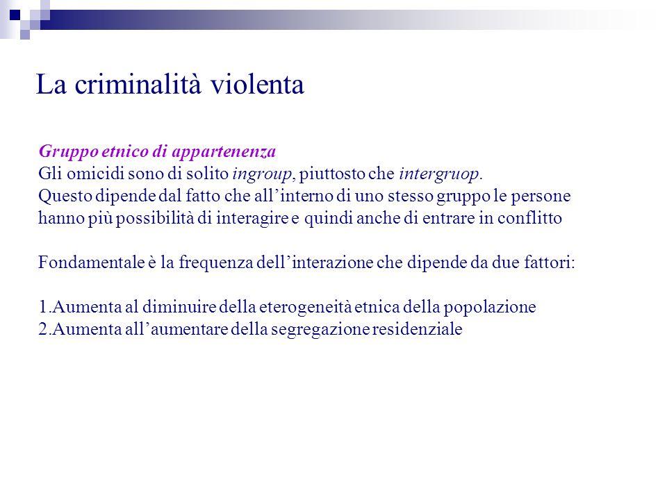 La criminalità violenta Gruppo etnico di appartenenza Gli omicidi sono di solito ingroup, piuttosto che intergruop. Questo dipende dal fatto che allin