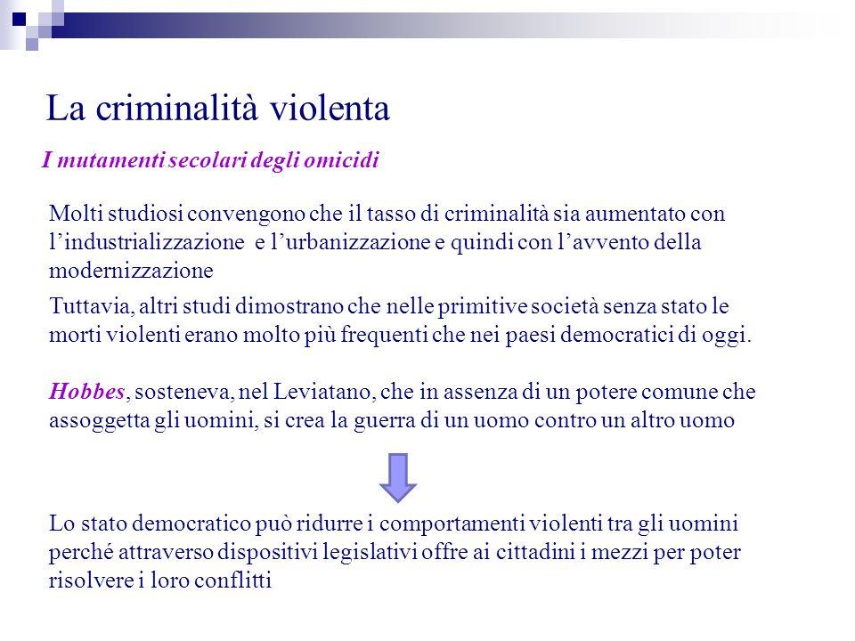 La criminalità violenta I mutamenti secolari degli omicidi Molti studiosi convengono che il tasso di criminalità sia aumentato con lindustrializzazion