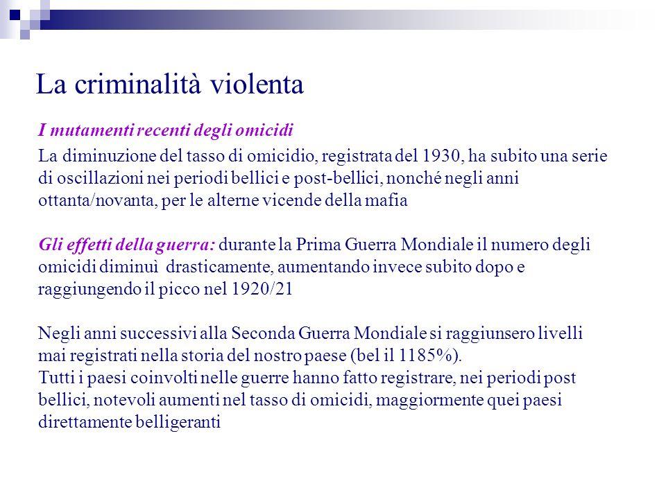 La criminalità violenta I mutamenti recenti degli omicidi La diminuzione del tasso di omicidio, registrata del 1930, ha subito una serie di oscillazio