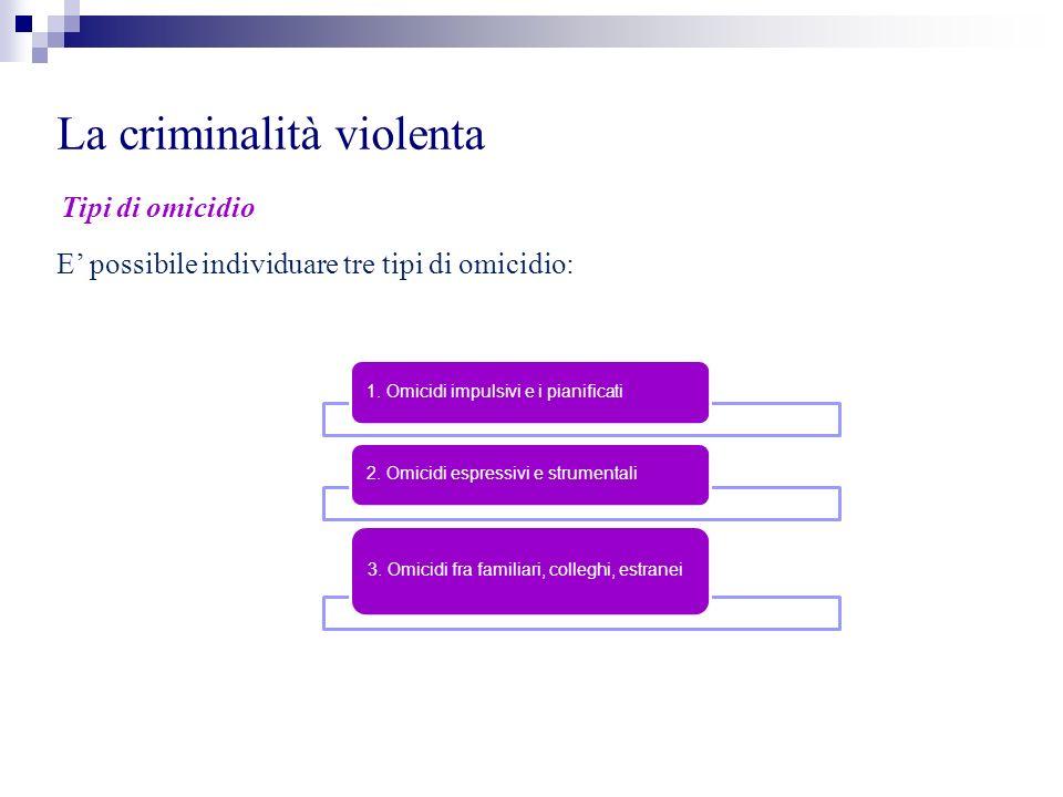 La criminalità violenta Tipi di omicidio E possibile individuare tre tipi di omicidio: 1. Omicidi impulsivi e i pianificati 2. Omicidi espressivi e st