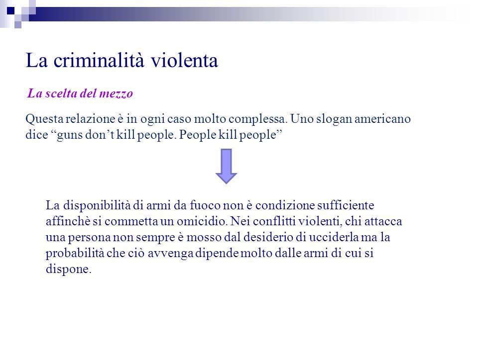 La criminalità violenta La scelta del mezzo Questa relazione è in ogni caso molto complessa. Uno slogan americano dice guns dont kill people. People k