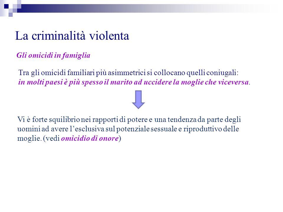 La criminalità violenta Gli omicidi in famiglia Tra gli omicidi familiari più asimmetrici si collocano quelli coniugali: in molti paesi è più spesso i