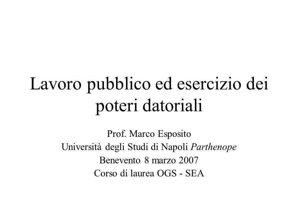 Lavoro pubblico ed esercizio dei poteri datoriali Prof. Marco Esposito Università degli Studi di Napoli Parthenope Benevento 8 marzo 2007 Corso di lau
