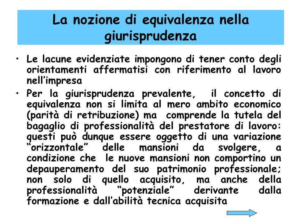 La nozione di equivalenza nella giurisprudenza Le lacune evidenziate impongono di tener conto degli orientamenti affermatisi con riferimento al lavoro