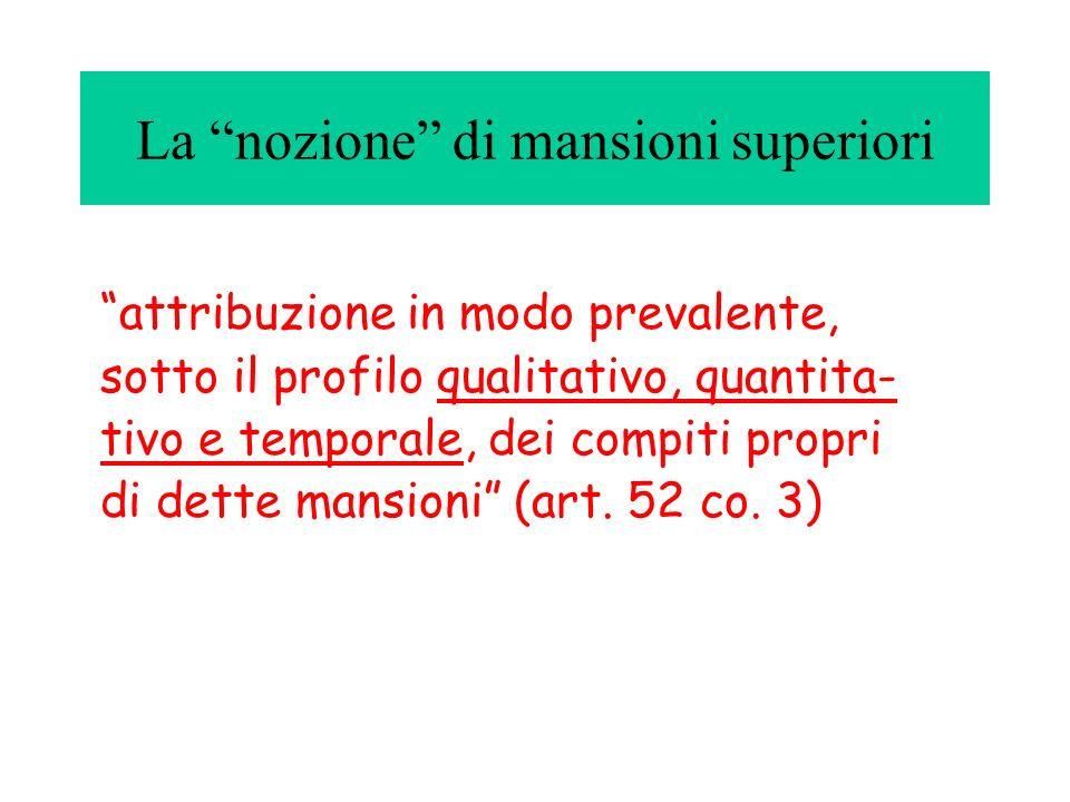 La nozione di mansioni superiori attribuzione in modo prevalente, sotto il profilo qualitativo, quantita- tivo e temporale, dei compiti propri di dett