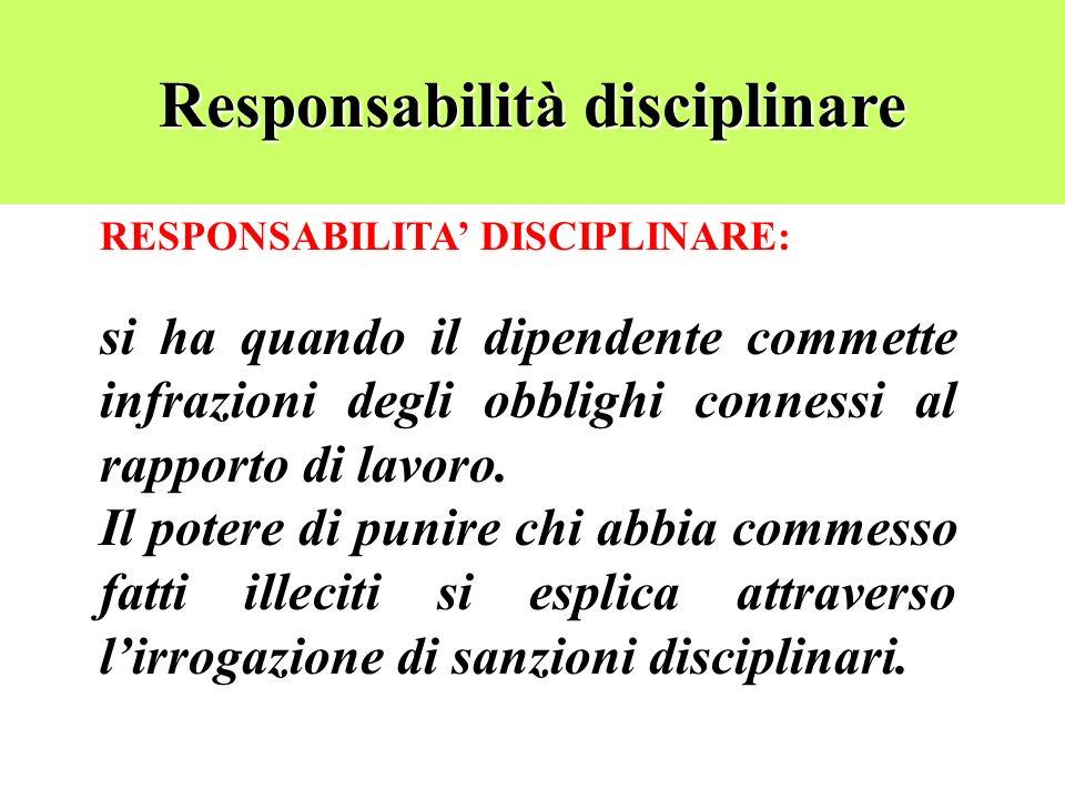 Responsabilità disciplinare RESPONSABILITA DISCIPLINARE: si ha quando il dipendente commette infrazioni degli obblighi connessi al rapporto di lavoro.