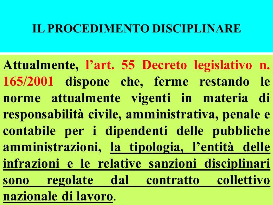 IL PROCEDIMENTO DISCIPLINARE Attualmente, lart. 55 Decreto legislativo n. 165/2001 dispone che, ferme restando le norme attualmente vigenti in materia