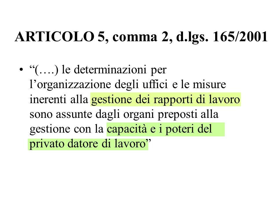 ARTICOLO 5, comma 2, d.lgs. 165/2001 (….) le determinazioni per lorganizzazione degli uffici e le misure inerenti alla gestione dei rapporti di lavoro