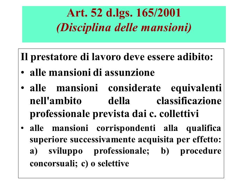 (Segue…….) Art. 52 d.lgs. 165/2001 (Disciplina delle mansioni) Il prestatore di lavoro deve essere adibito: alle mansioni di assunzione alle mansioni