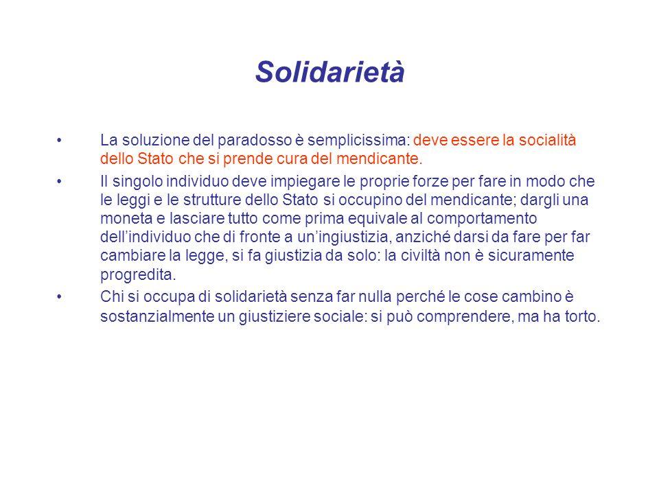 Solidarietà La soluzione del paradosso è semplicissima: deve essere la socialità dello Stato che si prende cura del mendicante. Il singolo individuo d