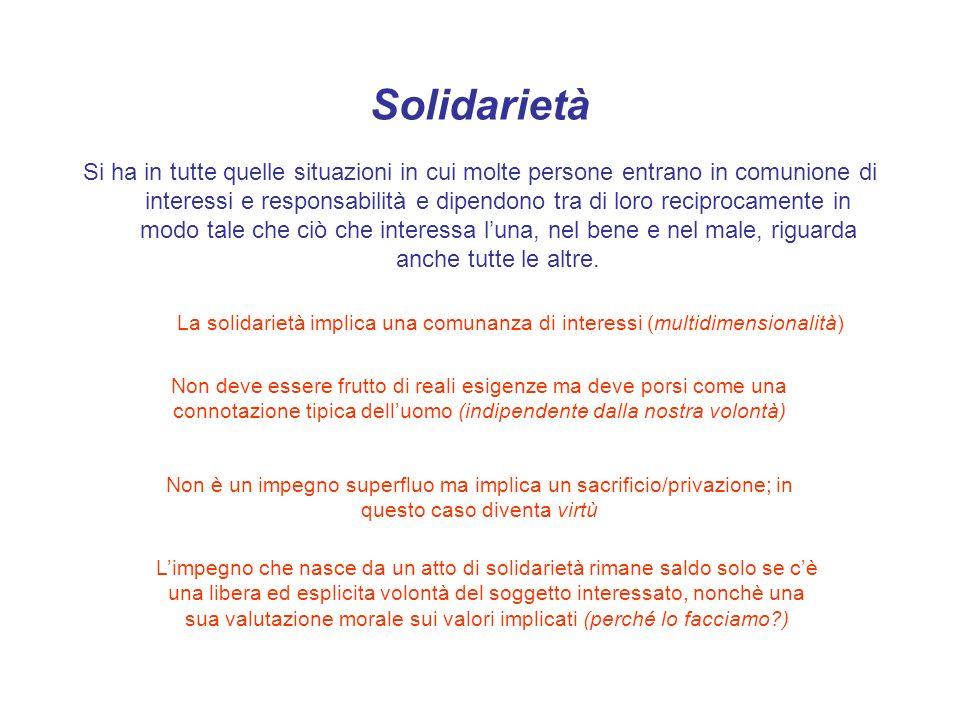 Solidarietà Si ha in tutte quelle situazioni in cui molte persone entrano in comunione di interessi e responsabilità e dipendono tra di loro reciproca