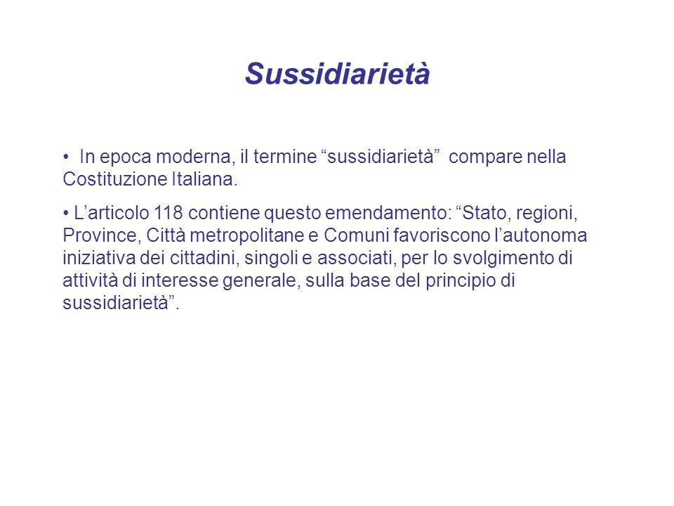 Sussidiarietà In epoca moderna, il termine sussidiarietà compare nella Costituzione Italiana. Larticolo 118 contiene questo emendamento: Stato, region