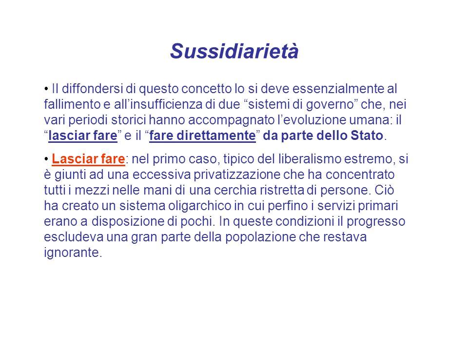 Sussidiarietà Il diffondersi di questo concetto lo si deve essenzialmente al fallimento e allinsufficienza di due sistemi di governo che, nei vari per