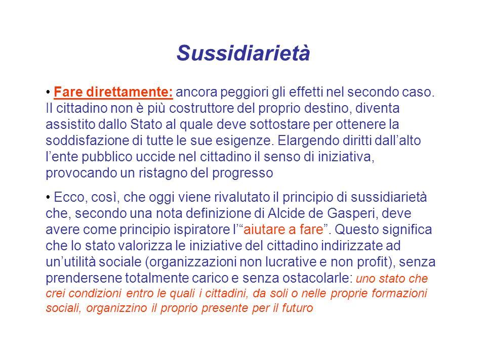 Sussidiarietà Fare direttamente: ancora peggiori gli effetti nel secondo caso. Il cittadino non è più costruttore del proprio destino, diventa assisti