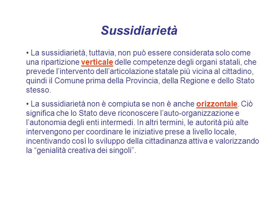 Sussidiarietà La sussidiarietà, tuttavia, non può essere considerata solo come una ripartizione verticale delle competenze degli organi statali, che p