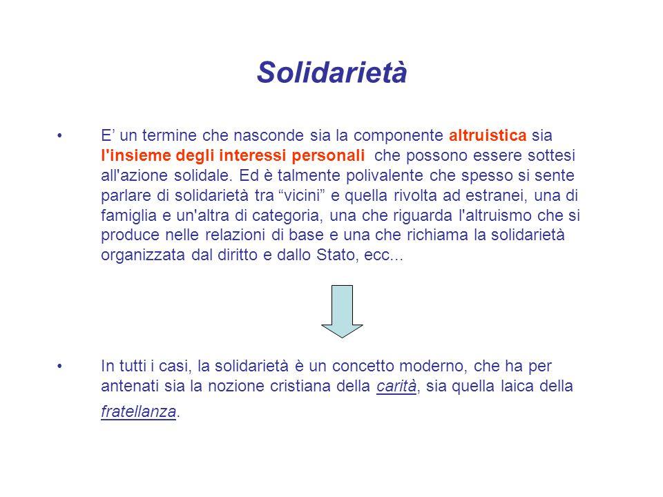 Solidarietà E un termine che nasconde sia la componente altruistica sia l'insieme degli interessi personali che possono essere sottesi all'azione soli
