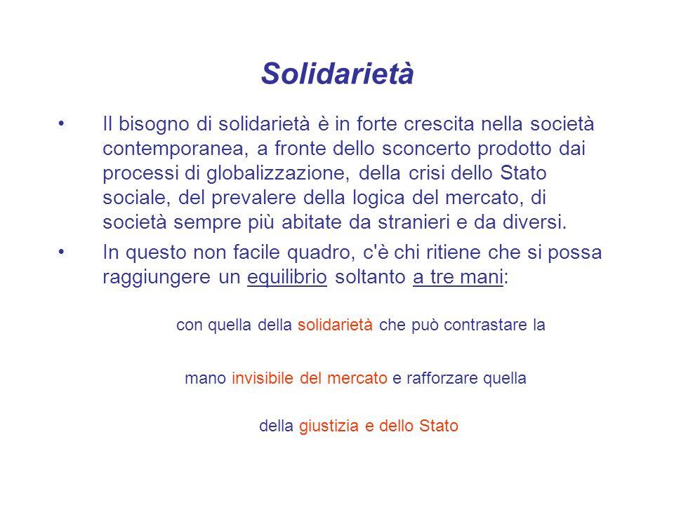 Solidarietà Il volontariato - Chi fa volontariato deve cioè capire che deve agire all interno di strutture che in qualche modo, oltre ad aiutare, promuovano idee e azioni che migliorano effettivamente la società.