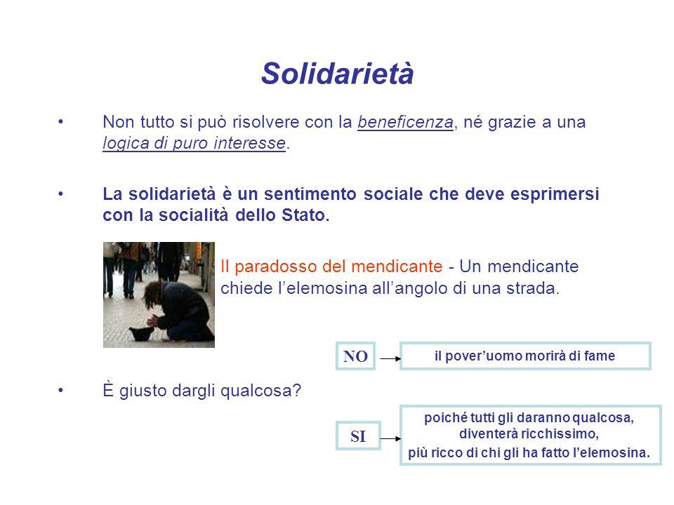 Solidarietà Non tutto si può risolvere con la beneficenza, né grazie a una logica di puro interesse. La solidarietà è un sentimento sociale che deve e