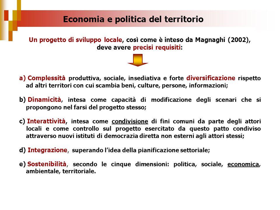 a) Complessità produttiva, sociale, insediativa e forte diversificazione rispetto ad altri territori con cui scambia beni, culture, persone, informazi